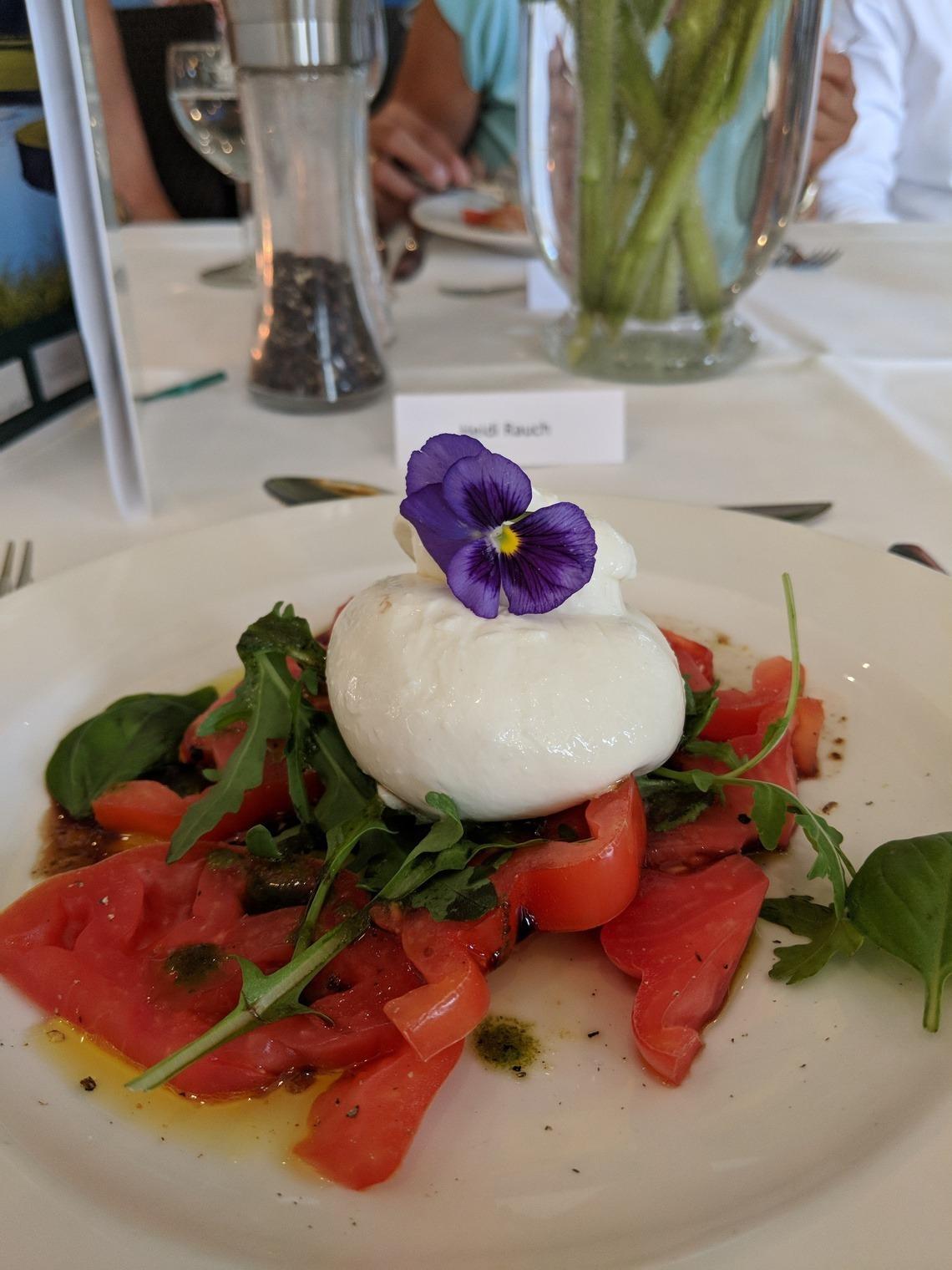 Burrata, die Edel-Variante des Mozzarella, war der köstliche Auftakt für ein 4-Sterne-Menü vom Feinsten.